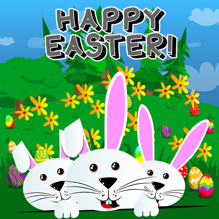 Bunnys with Happy Easter text on green background. Vector cartoon character illustration. Stock Illustratie