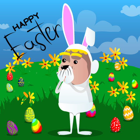 Easter bunny with hands over mouth with flower background, Vector cartoon character illustration.
