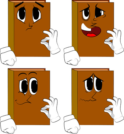 Books showing OK sign. Cartoon book collection with various sad face expressions vector set. Иллюстрация
