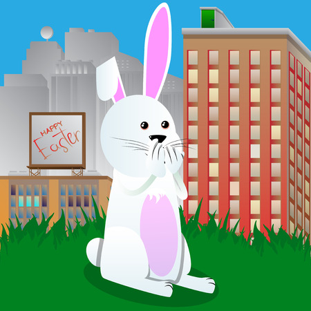 Easter bunny with hands over mouth. Vector cartoon character illustration.