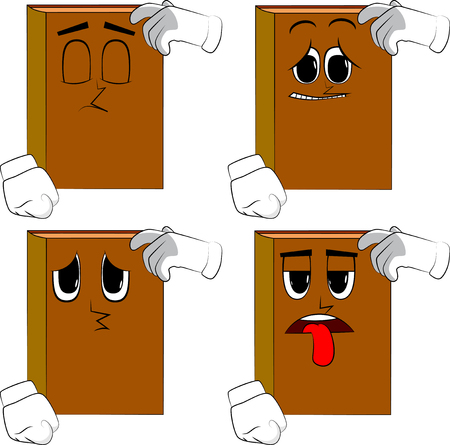 Books confused. Cartoon book collection with sad faces. Expressions vector set. Illustration