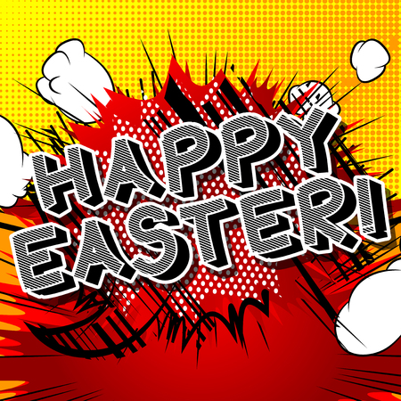 Happy Easter text on comic book background. Vector cartoon character illustration.