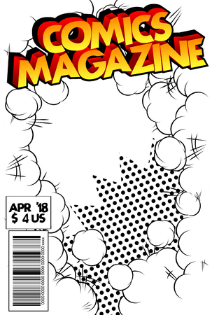 抽象的な爆発の背景を持つ編集可能な漫画の表紙。