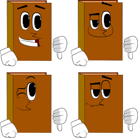 Books showing dislike hand sign. Cartoon book collection with happy faces. Expressions vector set. Illustration