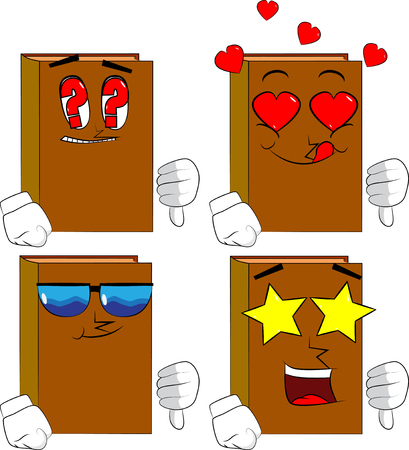 Books showing dislike hand sign. Cartoon book collection with various faces. Expressions vector set.