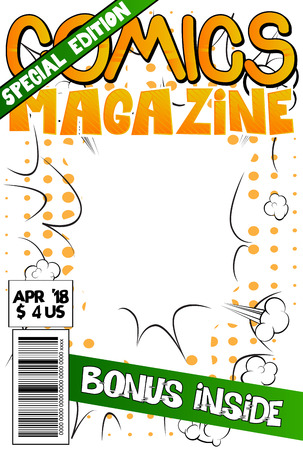 Editable comic book cover with abstract explosion background. Banco de Imagens - 95758935