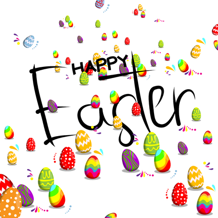 Happy Easter text and Easter eggs Vector cartoon illustration. Archivio Fotografico - 95820044
