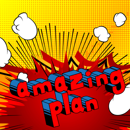 Amazing Plan - Comic book style phrase on abstract background. Ilustrace