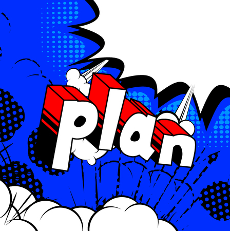 Plan - Comic book stijl zin op abstracte achtergrond.