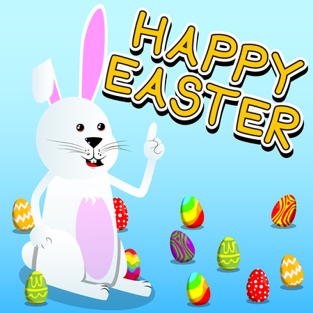 Easter bunny making a point Vector cartoon character illustration.