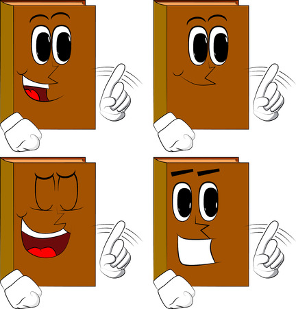 Books saying no with his finger. Cartoon book collection with costume faces. Expressions vector set. Illustration
