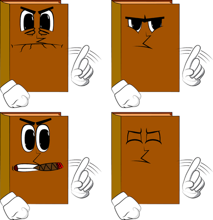 Books saying no with his finger. Cartoon book collection with costume faces. Expressions vector set. Ilustração
