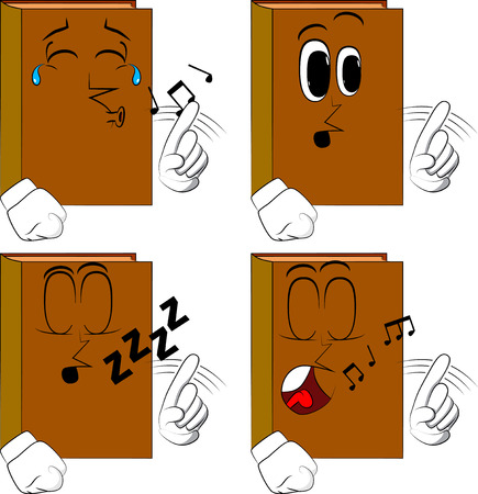 Books saying no with his finger. Cartoon book collection with various faces. Expressions vector set.