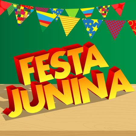 Festa Junina. Cartoon vector illustratie partij poster voor het festival van Brazilië. Folklore vakantie.