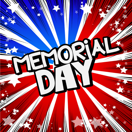 Memorial Day. Comic book lettering greeting card with abstract background in retro style. Vector vintage illustration.