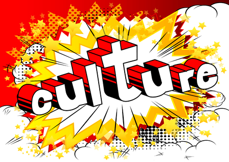 Culture - Comic book style phrase on abstract background. Çizim