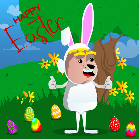 Boy dressed as Easter bunny making thumbs up sign with two hands. Vector cartoon character illustration.