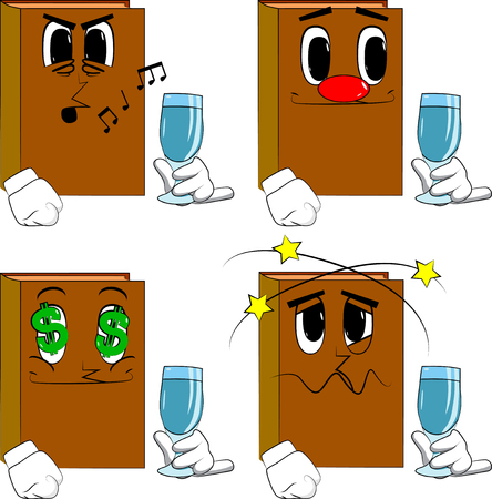 Books with a glass of water. Cartoon book collection with various faces. Expressions vector set.