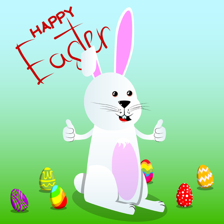 Easter bunny making thumbs up sign with two hands. Vector cartoon character illustration.