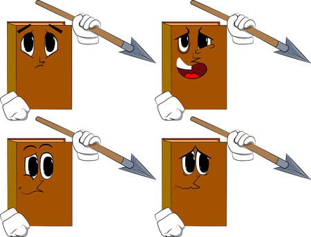 Books holding spear in his hand. Cartoon book collection with sad faces. Expressions vector set. Illustration