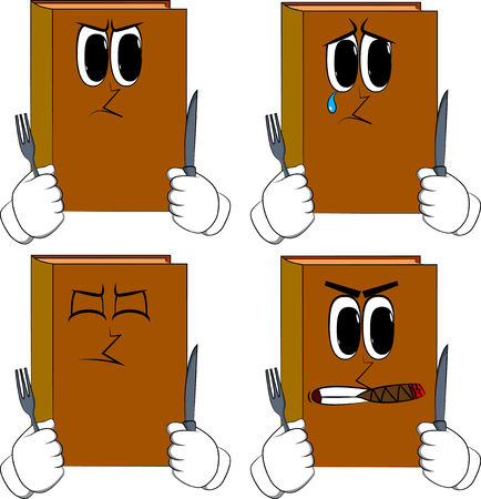 Books holding up a knife and fork. Cartoon book collection with angry and sad faces. Expressions vector set.