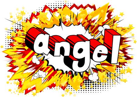 Ángel - frase de estilo cómic sobre fondo abstracto. Ilustración de vector