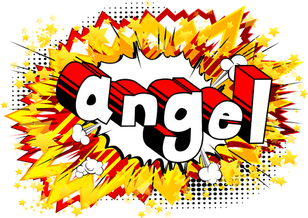 Angel - Comic book style phrase on abstract background.
