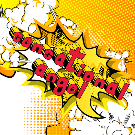 Sensational Angel - Comic book style phrase on abstract background.