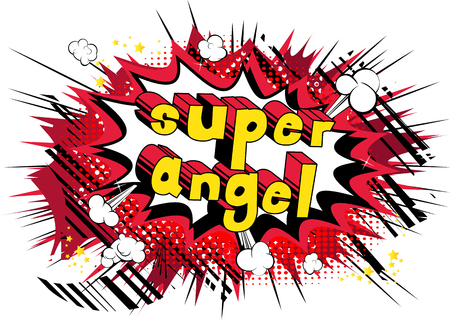 Super Angel - Comic book style phrase on abstract background. Иллюстрация