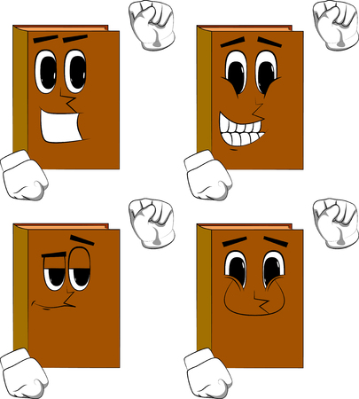 Books making power to the people fist gesture. Cartoon book collection with happy faces. Expressions vector set. Illustration