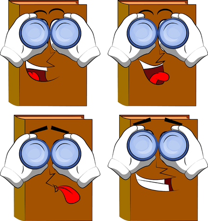 Books looking through binoculars. Cartoon book collection with happy faces. Expressions vector set. Ilustrace