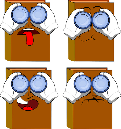 Books looking through binoculars. Cartoon book collection with sad, bored and angry faces. Expressions vector set.