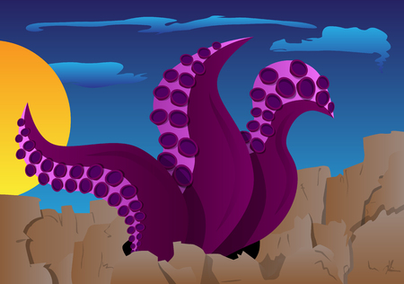 Tentacles of octopus in the ground on an alien planet. Cartoon style illustration.