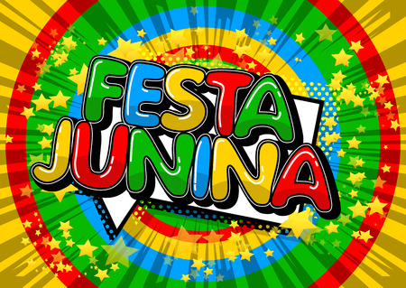 Festa Junina. Comic book stijl vector illustratie partij poster voor het festival van Brazilië. Folklore vakantie. Stockfoto - 97036082