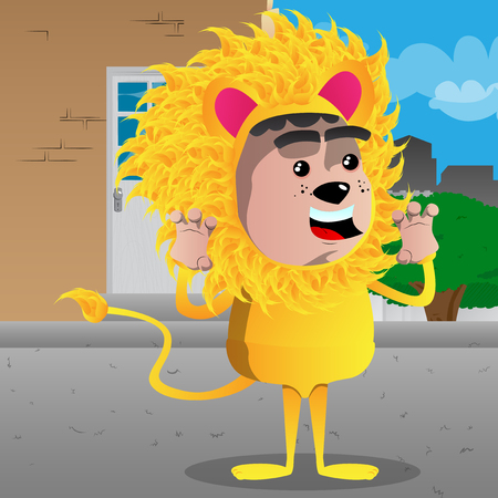 Boy dressed as a lion is trying to scare. Vector cartoon character illustration. Archivio Fotografico - 97158890