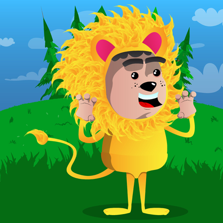 Boy dressed as a lion is trying to scare. Vector cartoon character illustration. Archivio Fotografico - 97158891