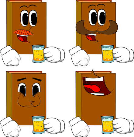 Books drinking beer. Cartoon book collection with happy faces. Expressions vector set.