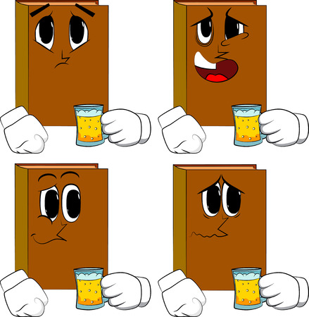 Books drinking beer. Cartoon book collection with sad faces. Expressions vector set.