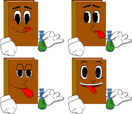 Books holding a test tube. Cartoon book collection with happy faces. Expressions vector set.