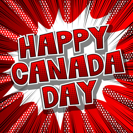 Vector illustrated banner, greeting card or poster for Canada Day. Çizim