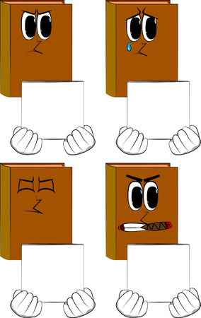 Books holding white box, Cartoon book collection with angry and sad faces, Expressions vector set. Иллюстрация