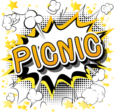 Picnic - Comic book style word on abstract background.