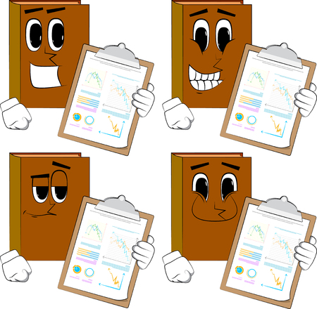 Books shows finance report. Cartoon book collection with happy faces. Expressions vector set.