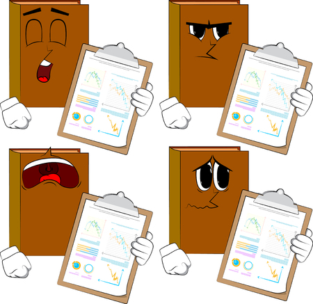 Books shows finance report. Cartoon book collection with sad faces. Expressions vector set.