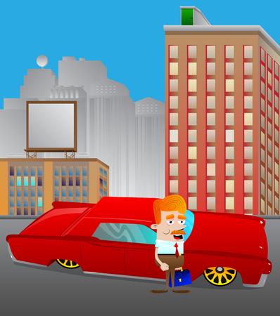 도시에서 빨간 차 앞에 서있는 만화 사업가. 성공, 성취, 부의 개념. 벡터 일러스트입니다.