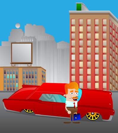 Cartoon businessman standing in front of a red car in the city. Concept of success, achievement, wealth. Vector illustration. Ilustrace