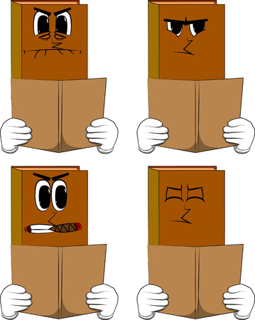 Books reading a book. Cartoon book collection with angry faces. Expressions vector set.