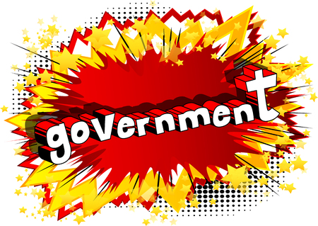 Government - Comic book style phrase on abstract background. Stock Vector - 97935857