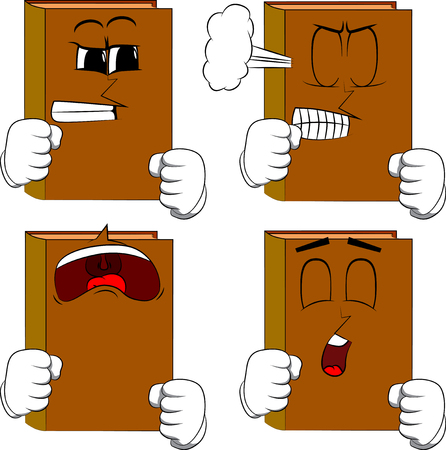 Books holding his fists in front of him ready to fight. Cartoon book collection with angry and sad faces. Expressions vector set.