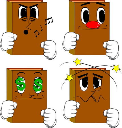 Books holding his fists in front of him ready to fight. Cartoon book collection with various faces. Expressions vector set.